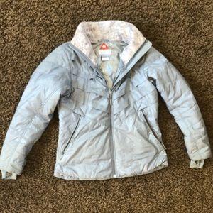 Columbia winter coat, faux fur collar, large, gray